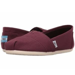 TOMS Classic Canvas Burgundy Slip-Ons